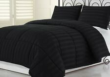 2pcs Hotel Dobby Stripe Goose Down Alternative Comforter Set, Black Twin