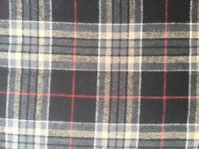 "100% Lightweight Cotton Flannel- Taupe/Black/Red PLAID-  56"" W Fabric - BTY"
