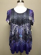 ONE WORLD PURPLE PRINTED EMBELLISHED W/ CROCHET LACE SLEEVE KNIT TOP PLUS Sz 2X