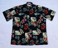 Vtg Pierre Cardin Hibiscus Palm Tree Beach Printed Aloha Hawaiian Shirt M