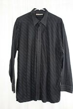 JOHN HENRY Mens Size XL Black Stitch Striped LS Button Front Casual Dress Shirt