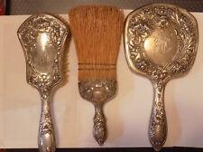Vintage 3 piece Sterling Silver Vanity Set Hand Mirror & Brush & broom (G)