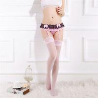 Womens Lace Floral Garter Suspender Belt Hosiery G-String Stocking Lingerie