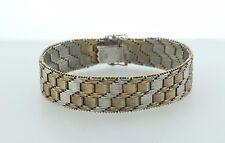 """Vintage 835 Silver Gold Vermeil Riccio Chain Woven Texture Wide Bracelet - 7"""""""