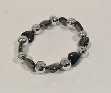 Bracelet. 17cm Black Hematite heart Gemstone beads Round Silver Plated spacers