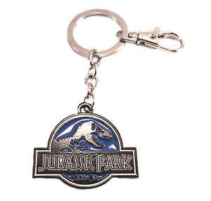 Jurassic Park Logo Metal Keychain Key Ring Pendant Blue