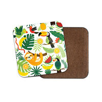 Cool Tropical Print Coaster - Sloth Bird Toucan Parrot Fun Kids Cool Gift #8839