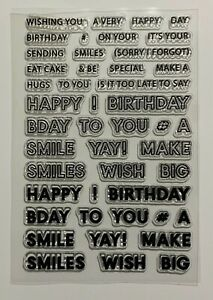 Happy Birthday Clear Stamp Set - Different Sentiments, Words, Texts & Sizes