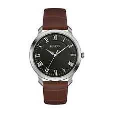 Bulova Men's Quartz Stainless Steel and Brown Leather Dress Watch (Model: 96A...