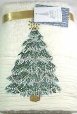 Decorative Absorbent Hand Towel Set Embellished w Decorated Christmas Tree Ivory