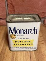 Vintage Monarch Lion 3/4 OZ Advertising Yellow Label Tin POULTRY SEASONING Empty