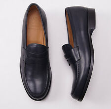 NIB $1050 SUTOR MANTELLASSI Midnight Navy Blue Leather Loafers US 12 D Shoes