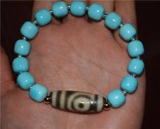 tibetan blue turquoise bracelet green genuine mala two 2 eyes dzi bead amulet