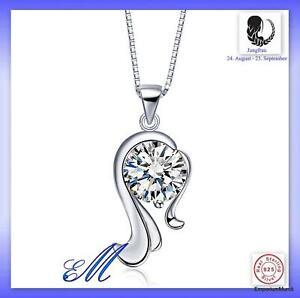 Sternzeichen Jungfrau Anhänger Halskette Schmuck aus Sterlingsilber ohne Kete