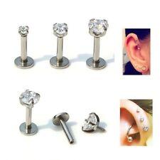 16g Clear Forward Helix Tragus Ear Studs Cartilage Earrings Labret Bar Piercing