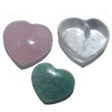 Bergkristall, Rosenquarz oder Amazonit Herz, Dekorative Herzen klein DH1001