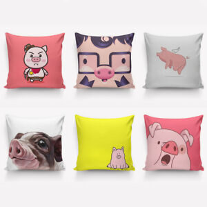 Piggy  Pattern Pillow Cover Hand Painting Style Pillow Protector 40cm & 45cm