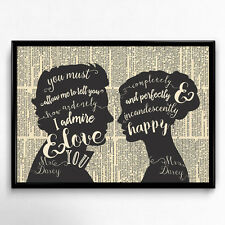 Stolz und Vorurteil Jane Austen Kunstdruck A4 Pride Prejudice Zitat Geschenk