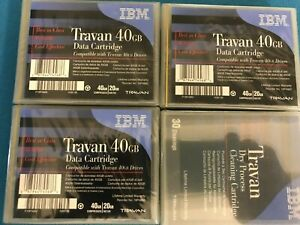 3 NEW IBM 40GB TR7 Travan Data Tape Cartridge  TR-7 20/40GB 19P4882 + cleaning.