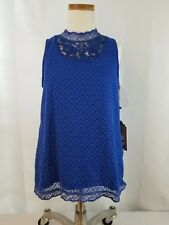 Girls True Craft Top Royal Blue With Lace Sleeveless Size  Large NWT