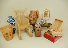 Vintage Attic Lot Rocking Chair Crates Baskets Dollhouse Miniature 1:12