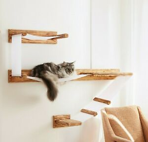 Cat Wall Shelves Large Wall Mounted Shelf Play Platform With Bed - Solid Wood UK