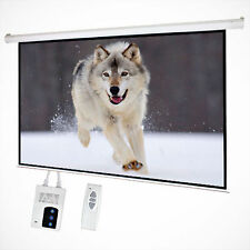 "New 100"" 16:9 HD Foldable Electric Motorized Projector Screen + Remote Control"
