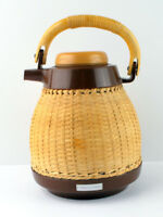 Corning Design Wicker Glass Lined Coffee Carafe Pitcher Bamboo Handle thermos
