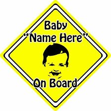 Personalised Baby/Child On Board Car Sign ~ Baby Face Silhouette ~ Neon Yellow