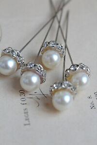 0,65€/St  5 edle Perlnadeln weiß silber Wachsperle 8mm Perle Strass 1cm Hochzei