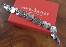 Rare & Retired JAMES AVERY Hammered Heart Link Bracelet Sterling Silver 925