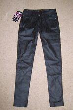 """Ladies Black Skinny Trousers Jeans Floral Print Vinyl PVC Look Size 8-10 28"""" New"""