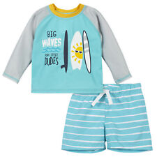 Gerber Baby 2-Piece Boys Surf Rashguard and Swim Trunk Set