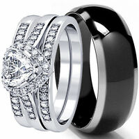 HIS AND HERS 4 PCS MENS WOMENS STERLING SILVER BLACK TITANIUM WEDDING RINGS SET