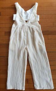 NWT Zara 11 12 Girls Off White Jumpsuit Sleeveless Linen Blend Jumper Tank Summe