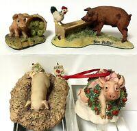 Vintage Schmid Lowell Davis BFA Pig Hog Figurine Lot Of 4 RDF America