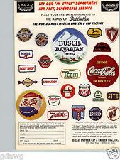 1960 PAPER AD Sewn Sport Patch Baseball Coca Cola Pepsi Mobil Sinclair Busch
