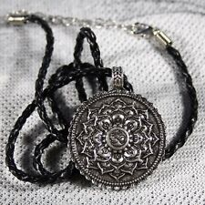 Collar Om Mandala Colgante Plata Buda Budista Tibetano Flor De Loto Trenzado