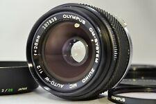 *Exc+++* Olympus OM System Zuiko MC Auto W 28mm F2 MF Lens w/ Hood Filter JAPAN