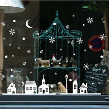 Window Decoration Wall Stickers Christmas Snowflakes Town Christmas Sticker Shop
