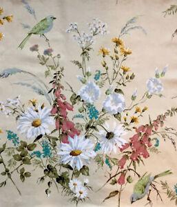 Jonelle Fabric Vintage 'Melodie' Buttercup,Blue&Green Bird Floral 60x60cm Rare