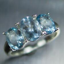 Natural aqua light blue Aquamarine Sterling 925 silver three stones ring