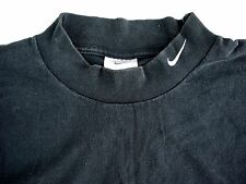 VINTAGE 90s NIKE SWOOSH mens long sleeve mock turtleneck t shirt L black