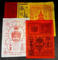 5 x MIXED LARGE Buddhist  PHA YANT TEMPLE 'WISHING'  CLOTH's  7 in  x 9.5 in