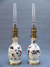 PAIRE LAMPE PETROLE LUNEVILLE JAPONISME  IMARI   XIX FAIENCE FINE  OIL LAMP 19 C
