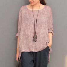 Newest ! ZANZEA Women Casual Round Neck Loose Long Sleeve Tops Shirt Blouse Plus
