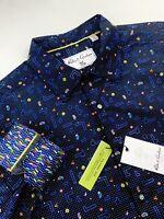 Robert Graham Geometric Pac-Man Print Stretch Multicolor Sport Shirt Mens XL