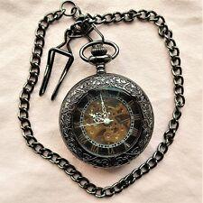 interessante, skelettierte Sprungdeckel TASCHENUHR, gutes Uhrwerk,passende Kette