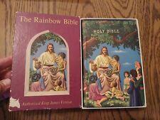 603 Rainbow Bible Vintage Illustrated KJV Children's Bible World Publishing Co.