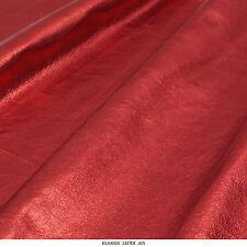 Rindsleder 0,9 mm Dick Rot Antik Metallic Design Echt Leder Haut Leather V86